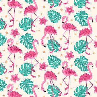 Patrón ilustrado de pájaro flamenco rosado con hojas tropicales