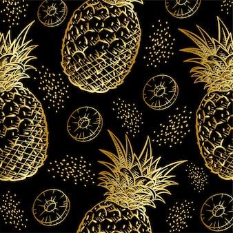 Patrón de impresión de frutas de piña dorada.