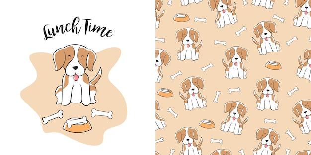 Patron inconsútil beagle dibujado a mano