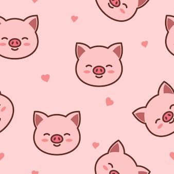 Patrón inconsútil de la cara de cerdo lindo de dibujos animados