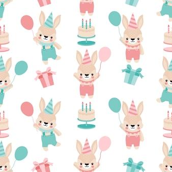 Patrón inconsútil de dibujos animales de conejo de cumpleaños lindo