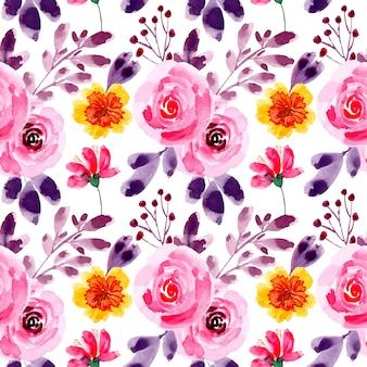 Patrón inconsútil hermosa flor acuarela