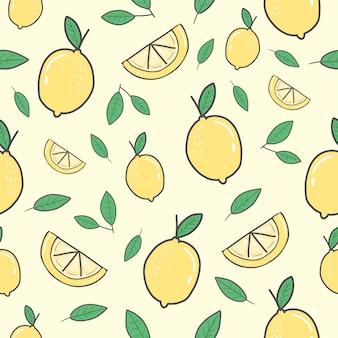 Patrón inconsútil de limón amarillo