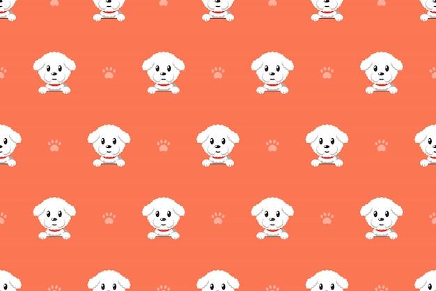 Patrón inconsútil del perro de dibujos animados de vector bichon frise perro