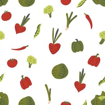 Patrón inconsútil de vegetales dibujados a mano coloridos