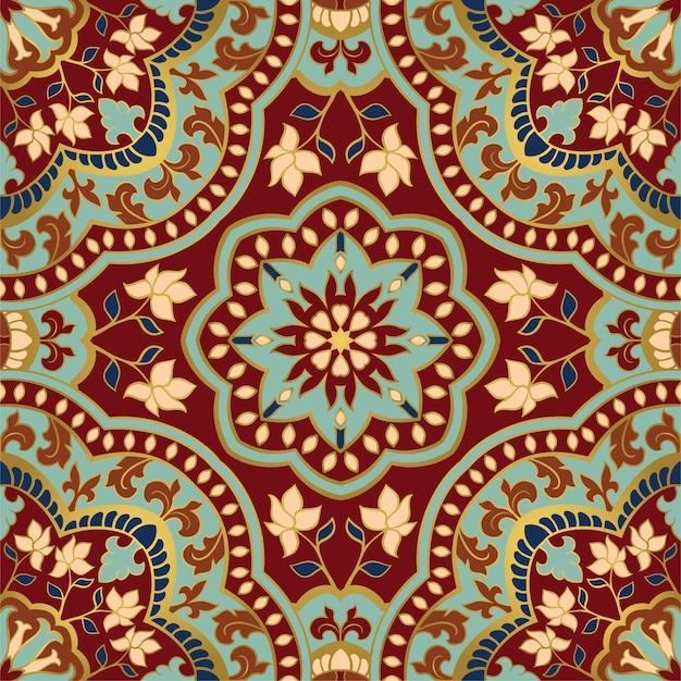Patrón indio abstracto con plantilla de mandala para mantón de alfombra textil