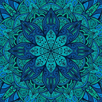 Patrón indio azul con diseño de mandala