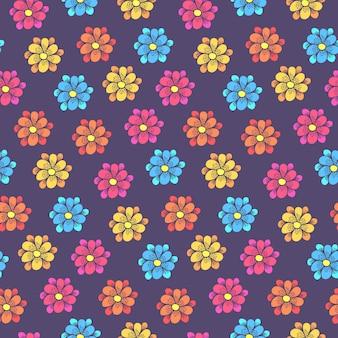 Patrón infantil con coloridas flores de margarita