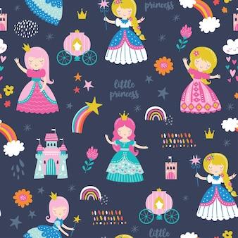 Patrón infantil sin costuras con princesa, castillo, carro en estilo escandinavo.