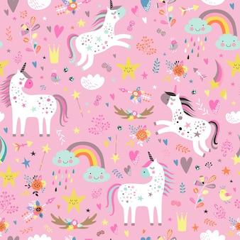 Patrón infantil sin costuras con unicornios