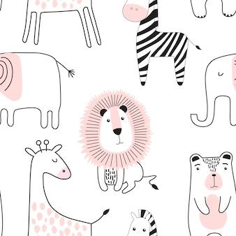 Patrón infantil sin fisuras con animales lindos.