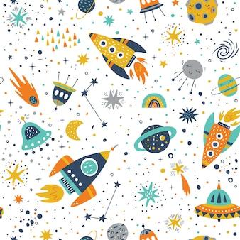 Patrón infantil sin fisuras con elementos espaciales, estrella.