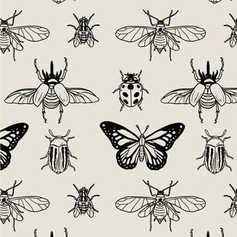 Patrón de insectos blanco y negro