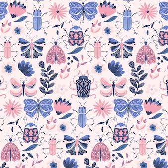Patrón de insectos y flores de color pálido
