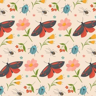 Patrón con insectos y flores.