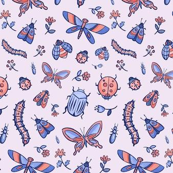 Patrón de insectos y flores