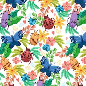 Patrón de insectos y flores.