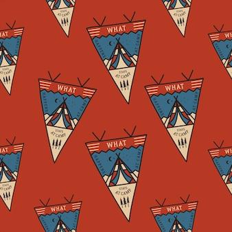 Patrón de insignias de tienda de campaña con banderines.