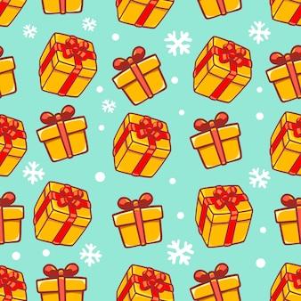 Patrón de invierno con caja de regalo sobre fondo verde