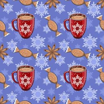 Patrón de invierno sin fisuras con bebida de café caliente