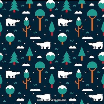 Patrón de invierno con osos polares y árboles