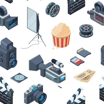 Patrón isométrico cinematográfico o ilustración