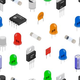 Patrón isométrico de componentes electrónicos