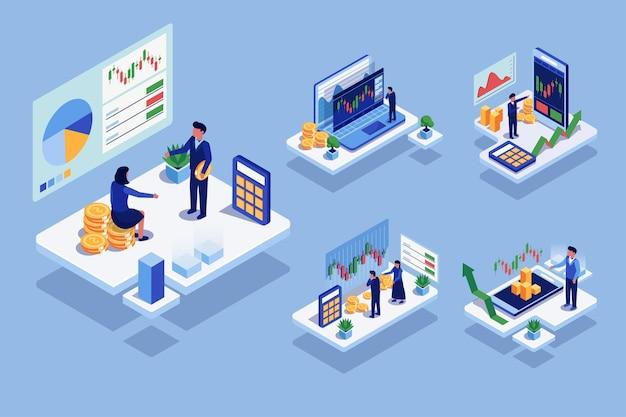 Patrón isométrico con personas que usan comunicación de alta tecnología o computadora con finanzas, en personaje de dibujos animados, ilustración plana