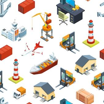 Patrón isométrico de puertos marinos y marinos