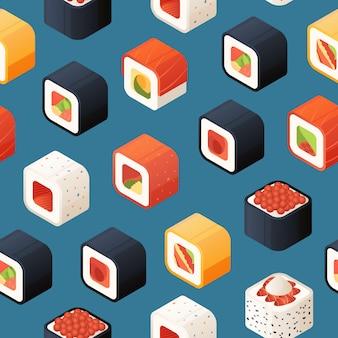 Patrón isométrico de sushi o ilustración