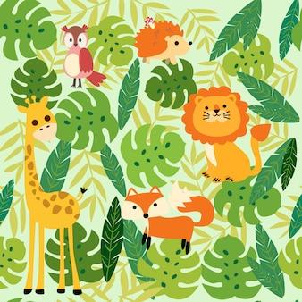 Patrón de la jungla animal de impresión