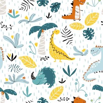 Patrón de la jungla de dinosaurio