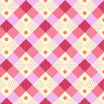 Patrón kawaii con diferentes texturas en rosa y amarillo.