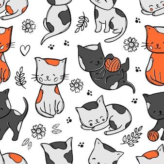 Patrón de kitty de color gatos lindos los bebés sueñan y juegan entre flores y hojas
