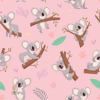 Patrón de koala. ilustraciones de oso koala animal lindo salvaje australiano para proyectos de diseño textil fondo transparente de dibujos animados.