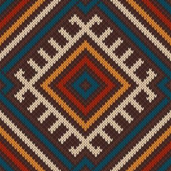 Patrón de lana tejida en estilo tribal azteca. sin costura