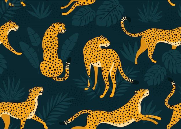 Patrón de leopardo con hojas tropicales. vector transparente