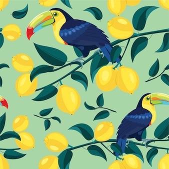 Patrón de limón con textura fluida de tucanes