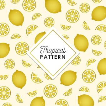 Patrón de limón tropical en color dorado.