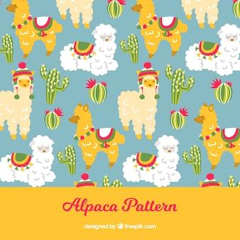 Patrón de lindas alpacas con naturaleza