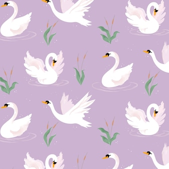 Patrón lindo cisne blanco