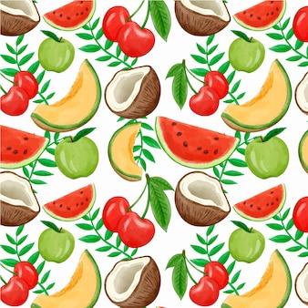 Patrón lindo colorido frutas tropicales