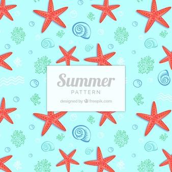 Patrón lindo de verano con estrellas de mar