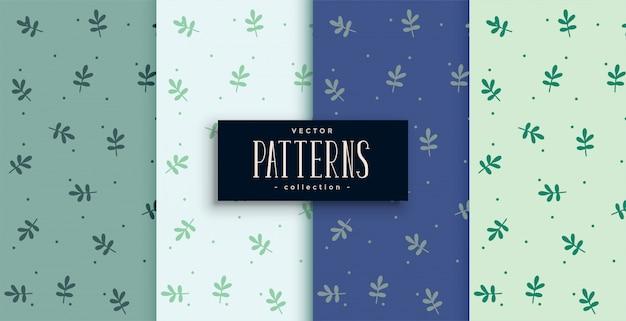 Patrón lindo de hojas pequeñas en cuatro tonos de color