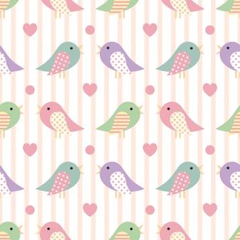 Patrón lindo inconsútil con pájaro colorido
