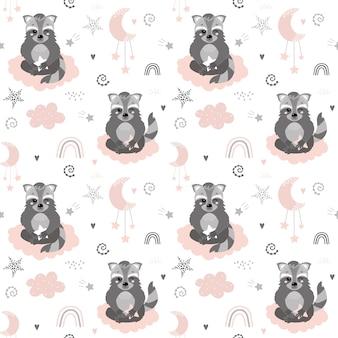 Patrón lindo con mapaches