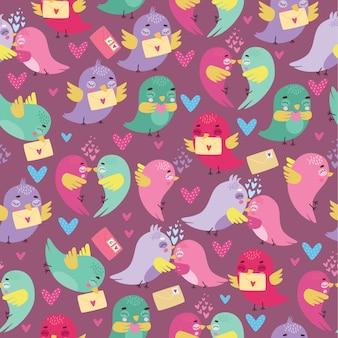 Patrón lindo con pájaros enamorados