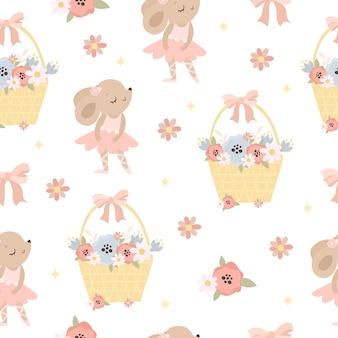 Patrón lindo ratón y flores