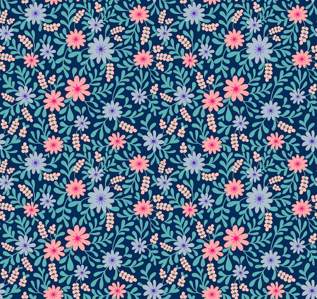 Patrón lindo simple en pequeñas flores rosas y azules sobre fondo azul marino. estilo liberty. impresión ditsy. fondo floral transparente. la elegante plantilla para estampados de moda.