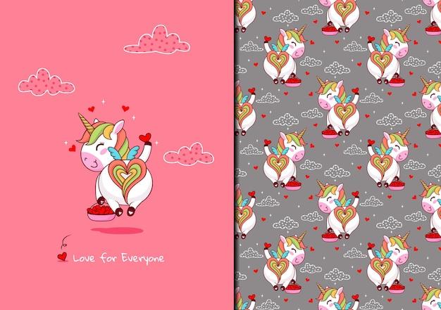 Patrón lindo unicornio difunde amor para todos